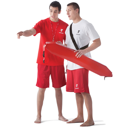 2 lifeguards, one pointing