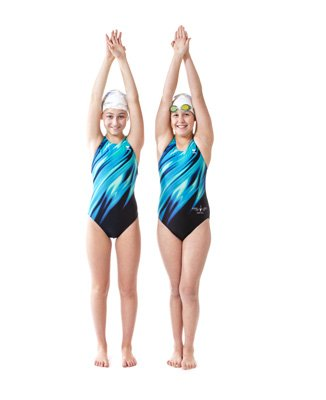Two girls in swim suits with goggles